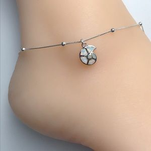 Jewelry - Sterling Silver Opal Snail Shell Anklet